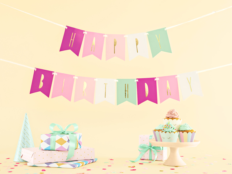 Banner Happy Birthday růžový mix