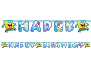 Banner Happy Birthday Spongebob, 180 cm