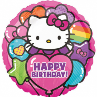 Balonek fóliový Hello Kitty Happy Birthday, 43 cm